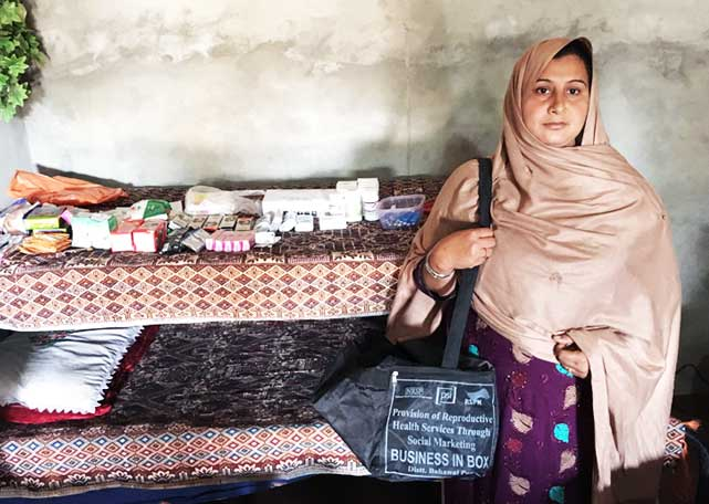 Sadia Bibi with CRP BiB items at her home in Bahawalpur. Photo: RSPN